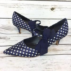 Tory Burch Blue Poka Dot Pumps Heels